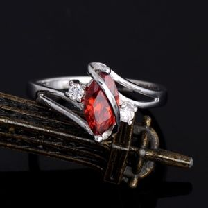Red Garnet Crystal Marquise Silver Infinity Ring